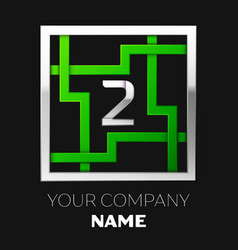 silver number two logo symbol in the square maze vector image