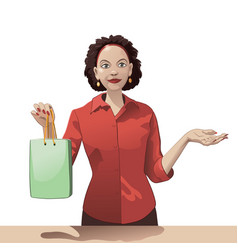 smiling girl sales clerk holding a shopping bag vector image