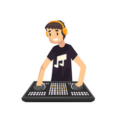 smiling male ale dj mixing music on vinyl vector image