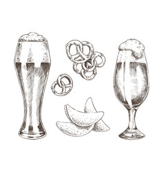 Snack food and foamy beer in glasses graphic art vector