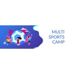 Sport summer camp concept banner header vector