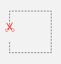stationery red scissors cut icon vector image