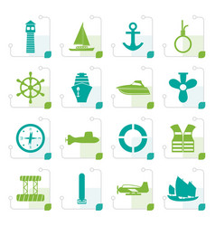 stylized simple marine sailing and sea icons vector image