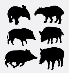 Tapir and boar wild animal silhouette vector image