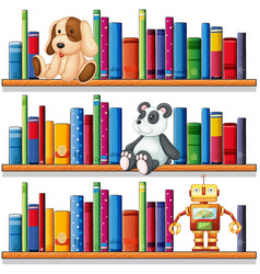 Toys and books on the shelves vector
