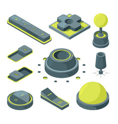 ui 3d buttons isometric pictures of various vector image