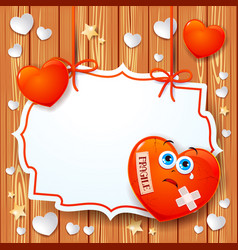 valentine background with broken heart and label vector image