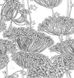 Vintage grey seamless pattern of wild flowers grap vector