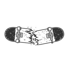 Vintage monochrome broken skateboard template vector