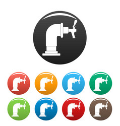 water tap icons set color vector image
