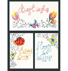 Watercolor floral card collection vector image