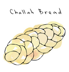 Watercolour zopf or challah bread jewish or swiss vector