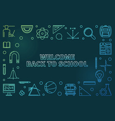 welcome back to school colorful linear vector image