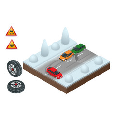 winter driving and road safety the car rides on a vector image