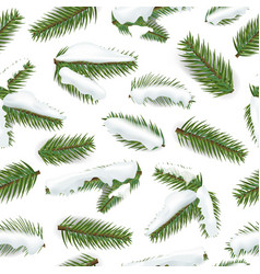 winter pine branches seamless pattern vector image