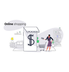 woman using mobile application online market vector image
