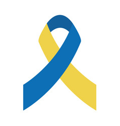 World down syndrome day yellow and blue ribbon vector