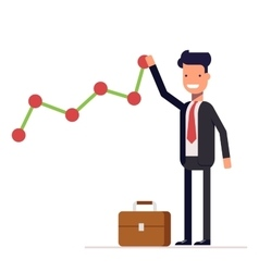 Businessman or manager builds a graph chart of vector image