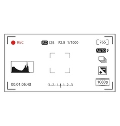 Camera viewfinder focusing screen display with vector image vector image
