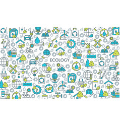 flat line design ecology banner vector image vector image