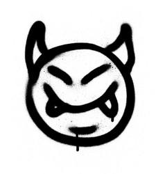 graffiti sprayed devil emoticon in black on white vector image vector image