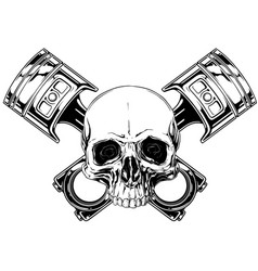 graphic human skull with crossed car piston vector image vector image