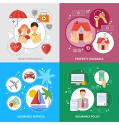Insurance Concept Icons Set vector image