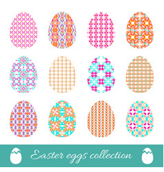 set of easter eggs with spring ornament collection vector image vector image