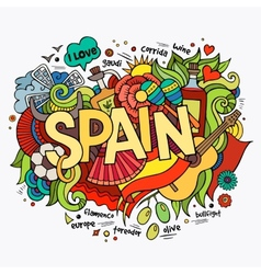 Spain hand lettering and doodles elements vector
