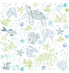 Turtle and Fish seamless vector image vector image