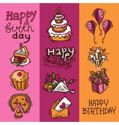 Birthday sketch banner set vector image vector image