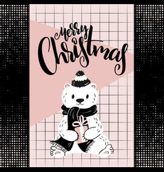 christmas greeting card with hand lettering vector image
