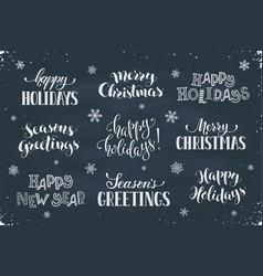 happy holidays phrases vector image