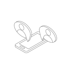 Mobile chatting icon isometric 3d style vector image vector image