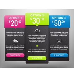 Pricing Tables vector image