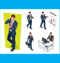 set of businessman man on white background vector image