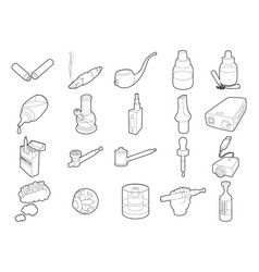 smoking icon set outline style vector image