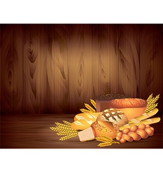 breads wood background vector image
