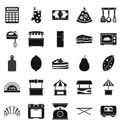 shop with buns icons set simple style vector image vector image