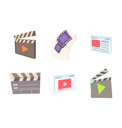 video file icon set cartoon style vector image vector image