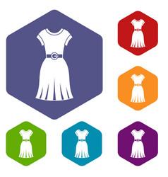 dress icons set hexagon vector image vector image