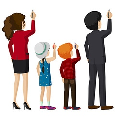 Kids and adults writing vector image