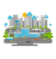 processes airport flat city vector image