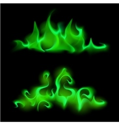 Set of Different Green Fire Flame Bonfire vector image vector image