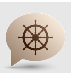 Ship wheel sign Brown gradient icon on bubble vector image vector image