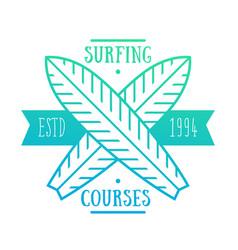 surfing courses emblem badge logo vector image