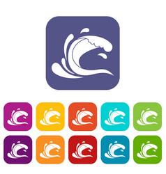 Water wave splash icons set vector