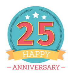 25 years anniversary emblem with ribbon stars and vector
