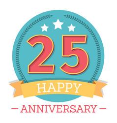 25 years anniversary emblem with ribbon stars vector