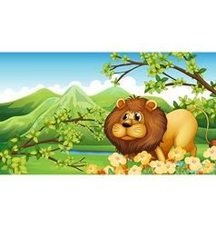 A lion in a green mountain area vector